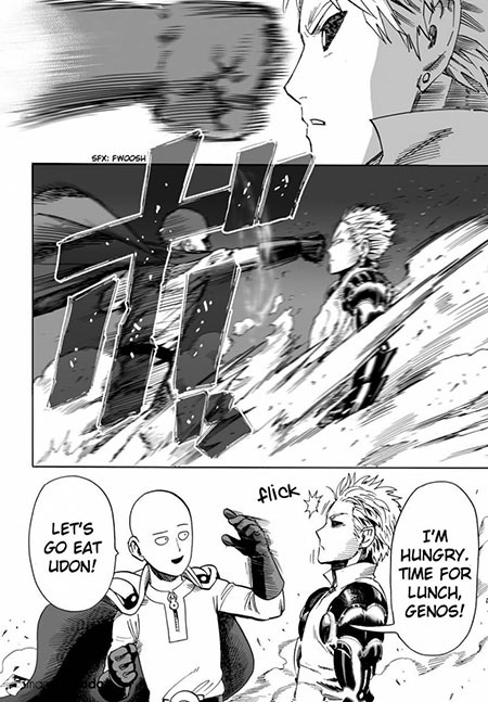 Saitama is almost punching Genos